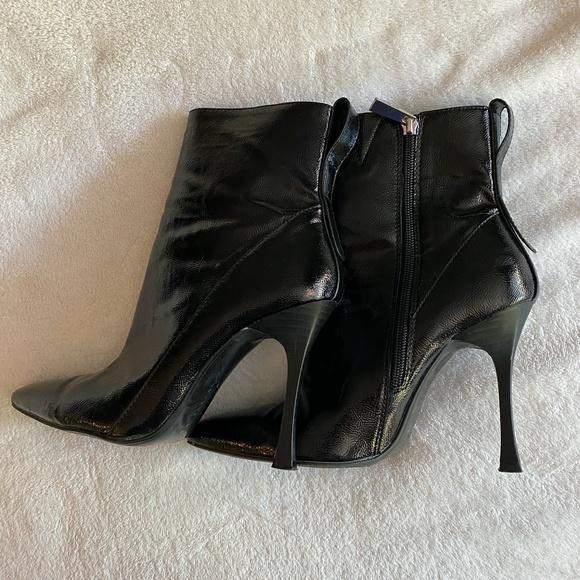 Zara Patent Black High Heel Boots sz 38 / 7.5 US